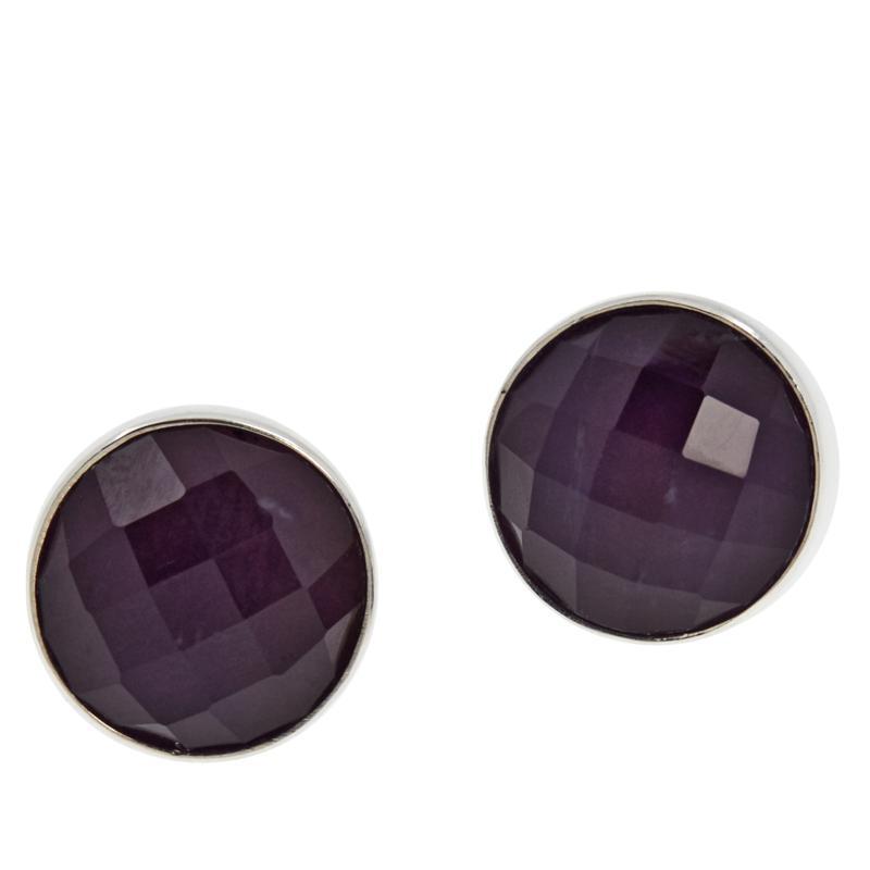 Jay King Sterling Silver 10mm Round Amethyst Stud Earrings