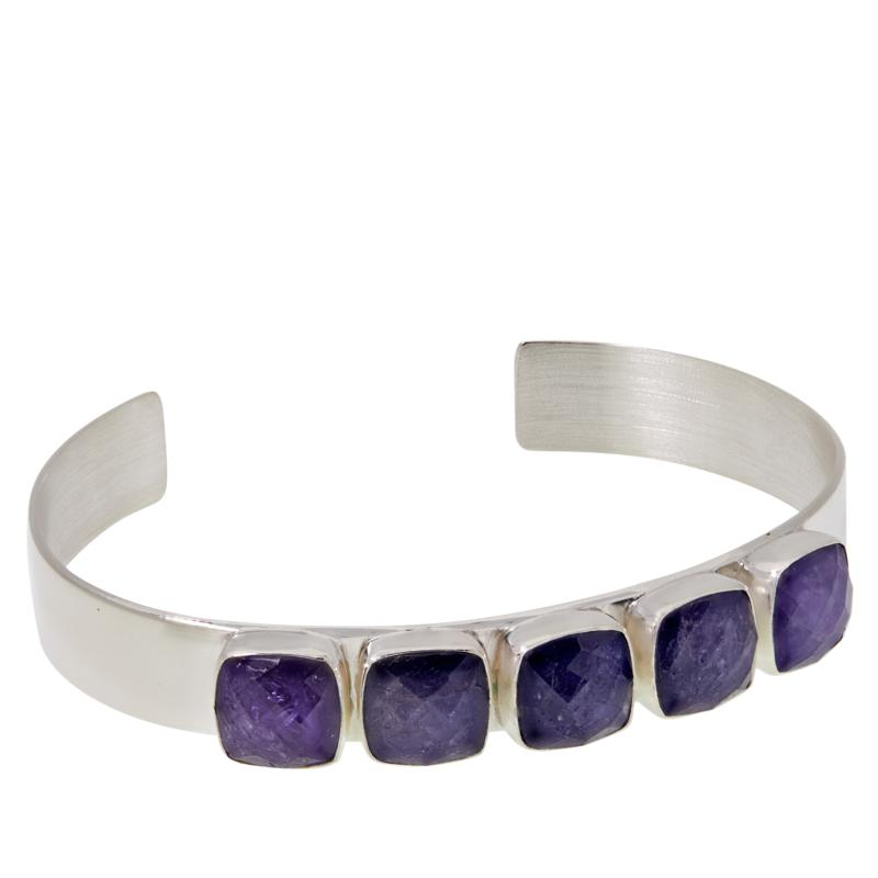 Jay King Sterling Silver 5-Stone Tanzanite Cuff Bracelet