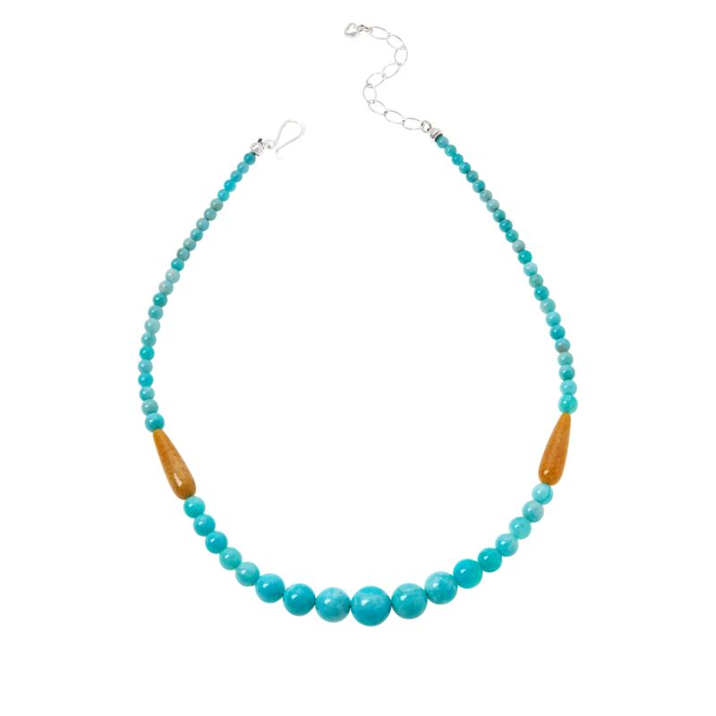 Jay King Sterling Silver Amazonite and Amber Bead Necklace