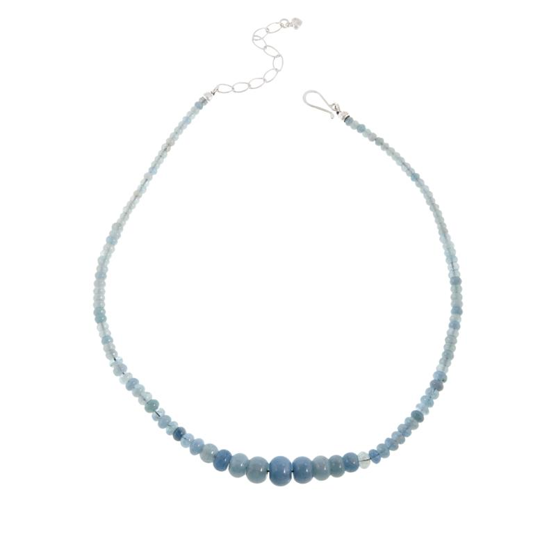 Jay King Sterling Silver Aquamarine Graduated Bead Necklace