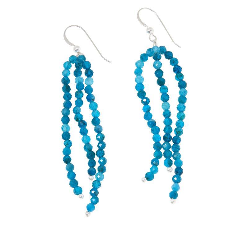 Jay King Sterling Silver Blue Apatite Bead Tassel Drop Earrings