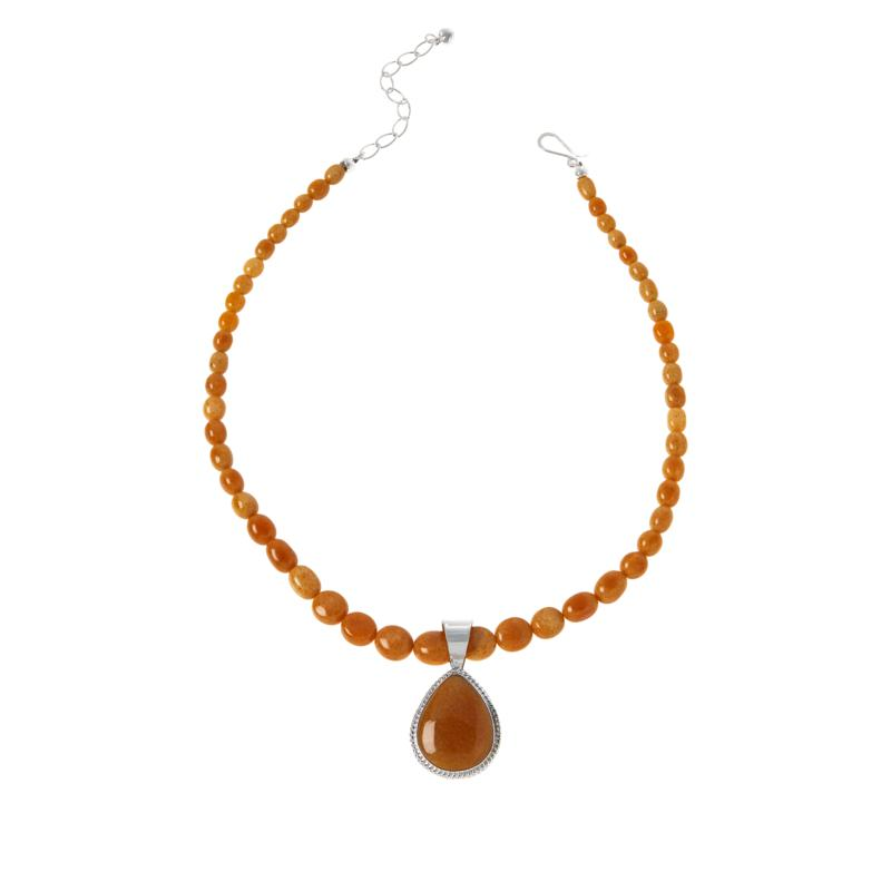 Jay King Sterling Silver Butterscotch Amber Pendant with Necklace