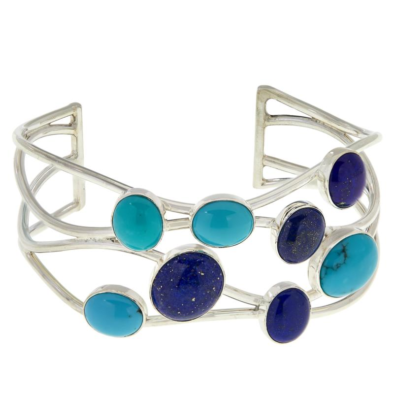 Jay King Sterling Silver Campitos Turquoise & Lapis Open Cuff Bracelet