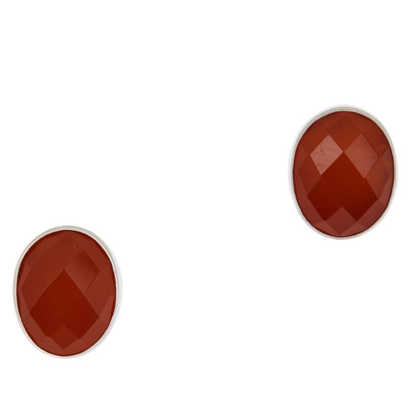 Jay King Sterling Silver Chalcedony Oval Stud Earrings