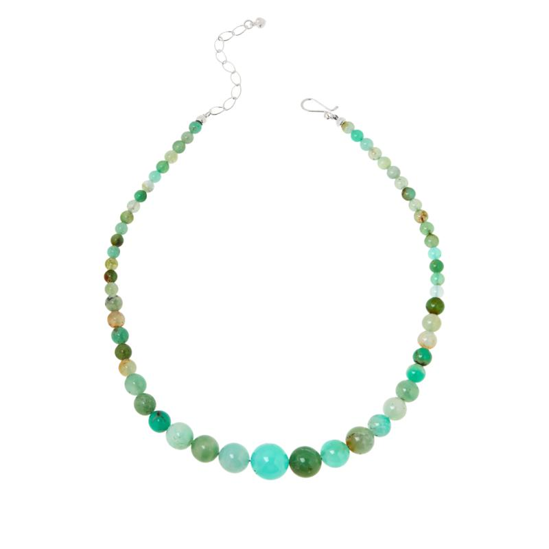 Jay King Sterling Silver Chrysoprase Graduated Bead Necklace