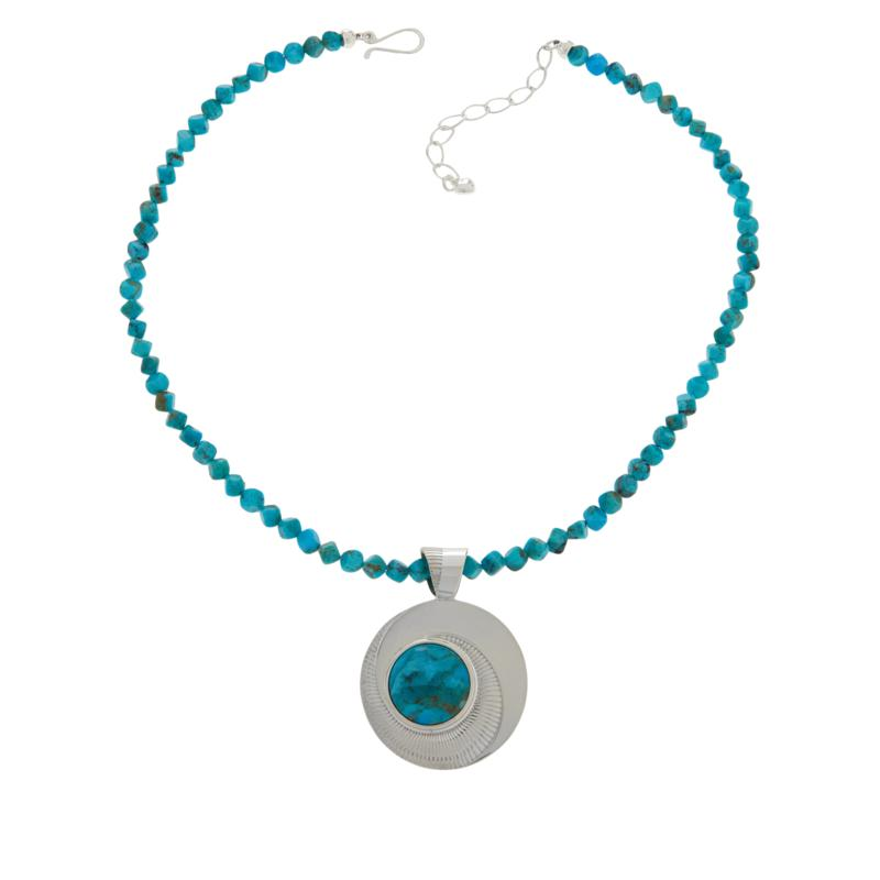 Jay King Sterling Silver Compressed Kingman Turquoise Pendant-Necklace