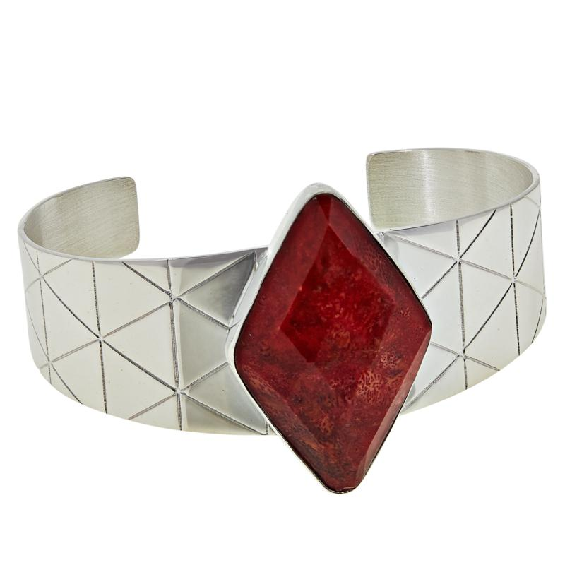 Jay King Sterling Silver Diamond-Shaped Red Coral Cuff Bracelet