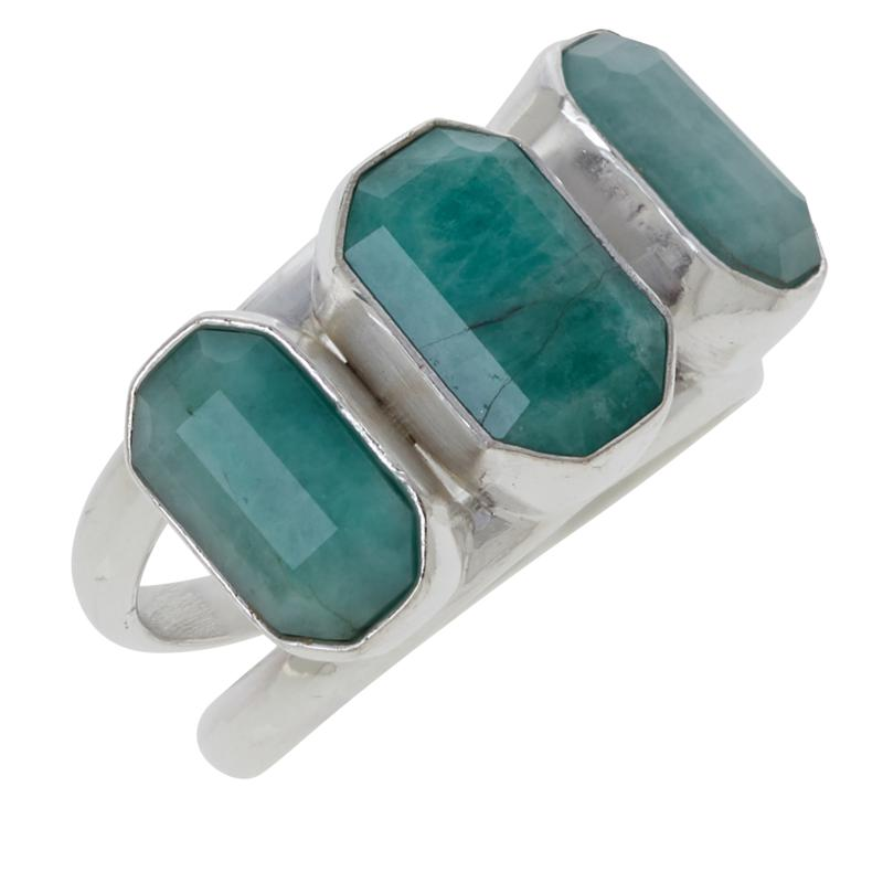 Jay King Sterling Silver Emerald 3-Stone Ring