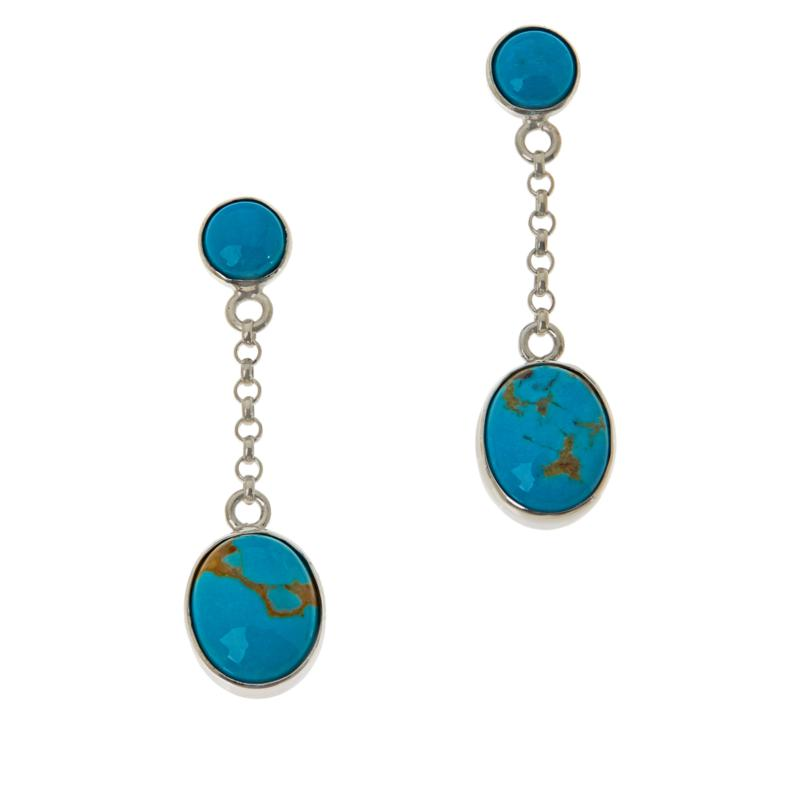 Jay King Sterling Silver Gold-Color Matrix Turquoise Drop Earrings