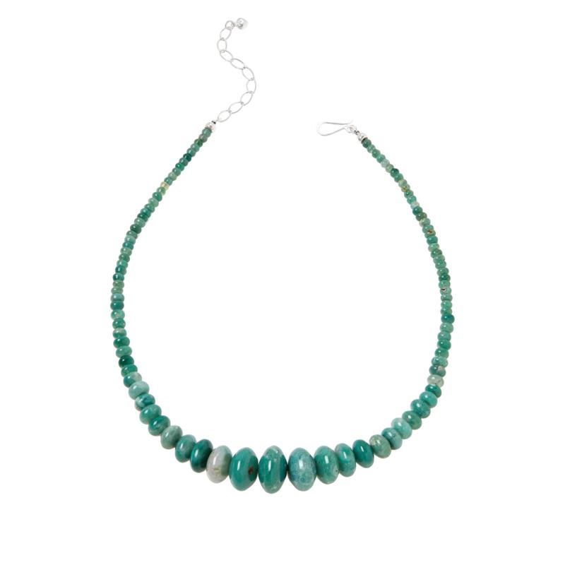 Jay King Sterling Silver Green Agate Graduated Bead Necklace