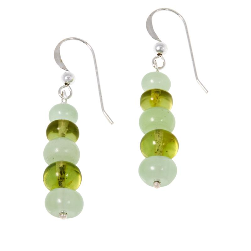 Jay King Sterling Silver Green Amber and Calcite Bead Drop Earrings