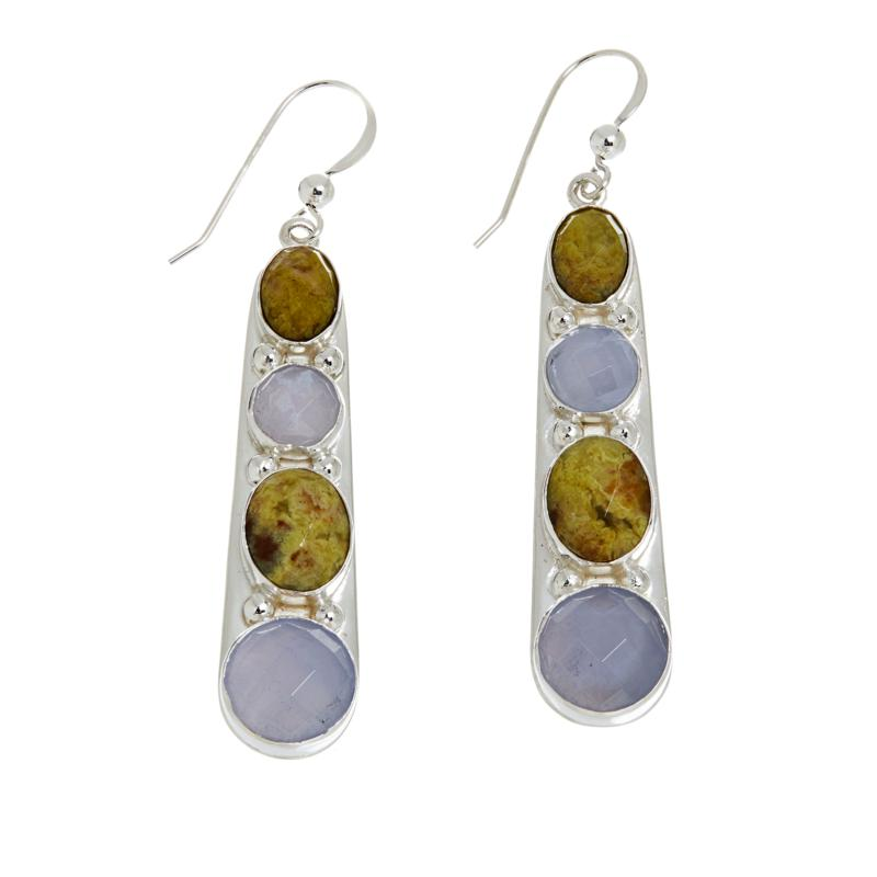 Jay King Sterling Silver Green Opal and Blue Agate Earrings
