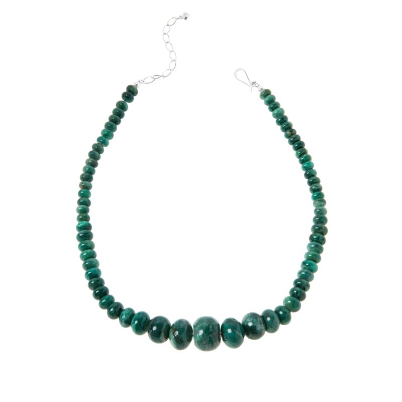 Jay King Sterling Silver Green Quartz Graduated Bead Necklace