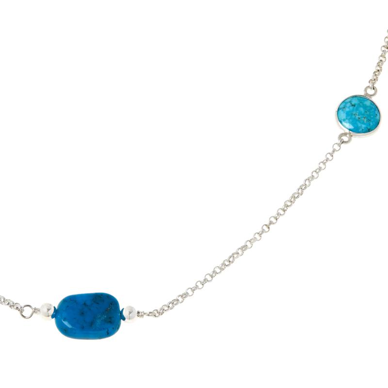 Jay King Sterling Silver Kingman Turquoise Nugget Chain Necklace