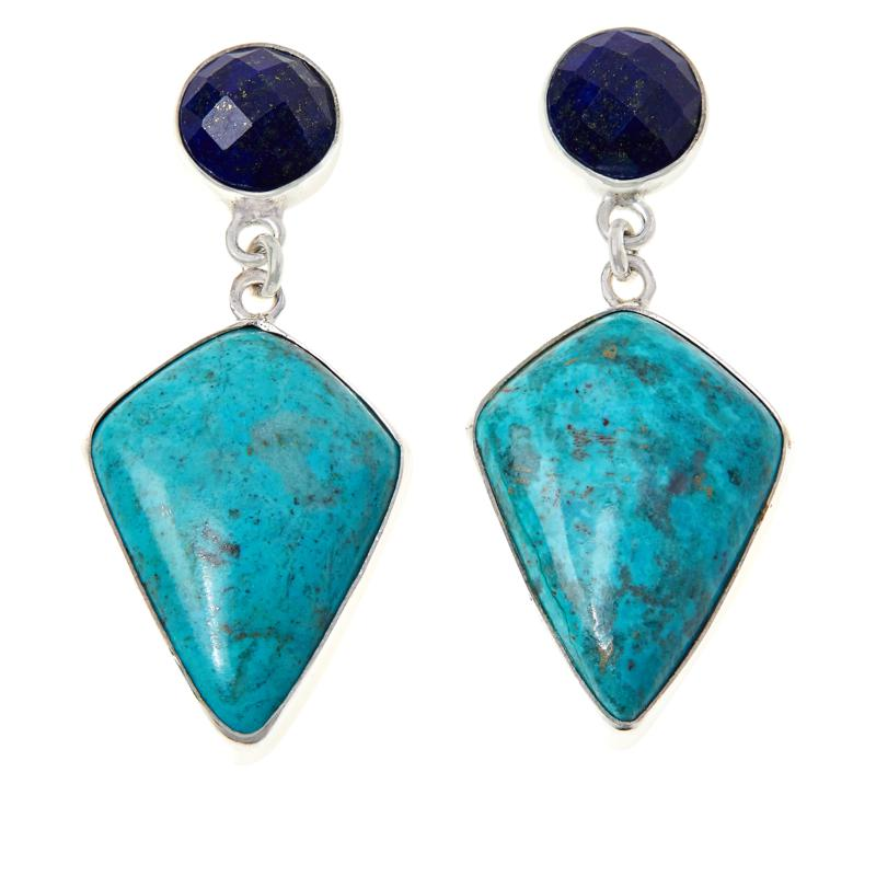 Jay King Sterling Silver Lapis and Chrysocolla Drop Earrings