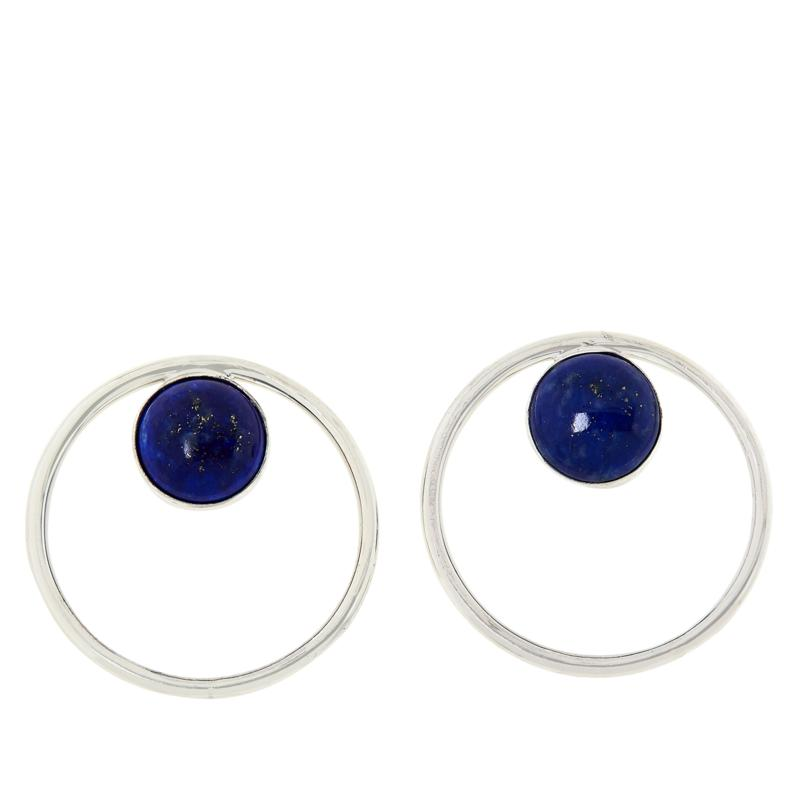 Jay King Sterling Silver Lapis Disc Earrings