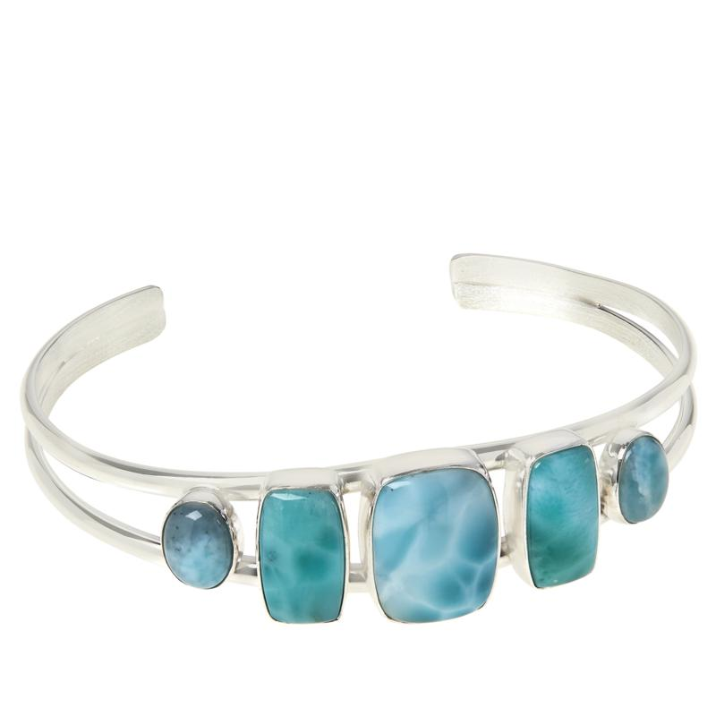 Jay King Sterling Silver Larimar 5-Stone Cuff Bracelet