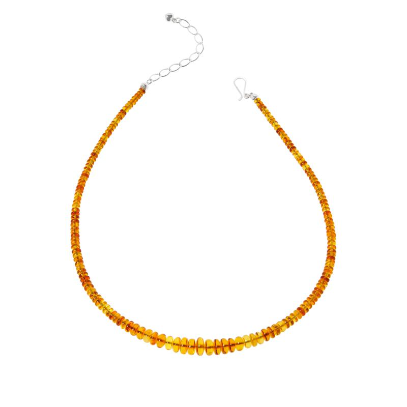 Jay King Sterling Silver Light Amber Graduated Bead Necklace
