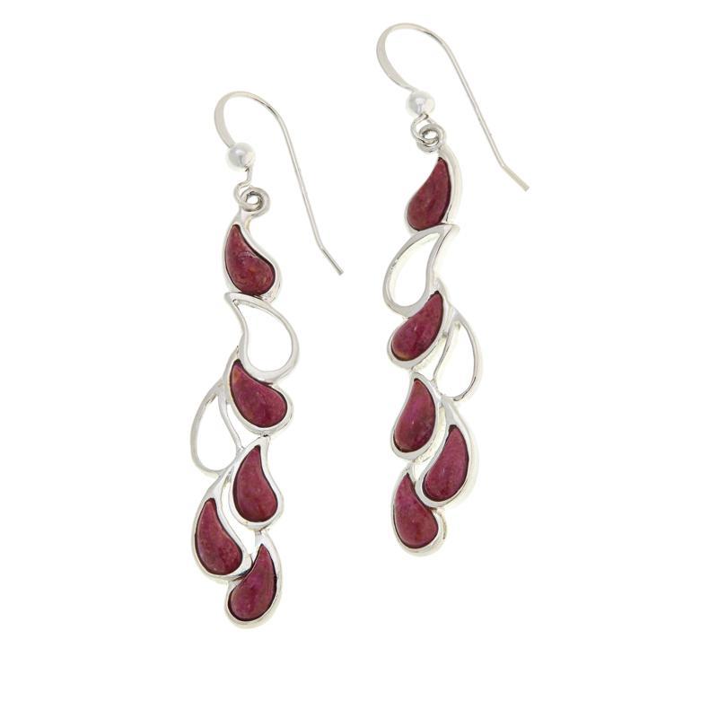 Jay King Sterling Silver Magenta Coral Dangle Earrings