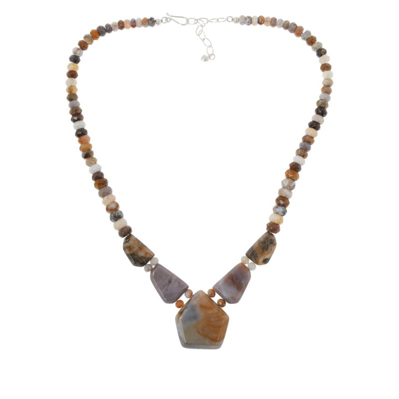 Jay King Sterling Silver Multi-Color Freeform Agate Necklace