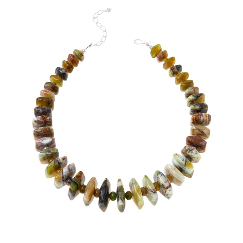 Jay King Sterling Silver Multi-Color Green Reef Opal Necklace
