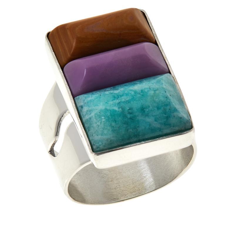 Jay King Sterling Silver Multi-Color Multi-Gemstone Ring