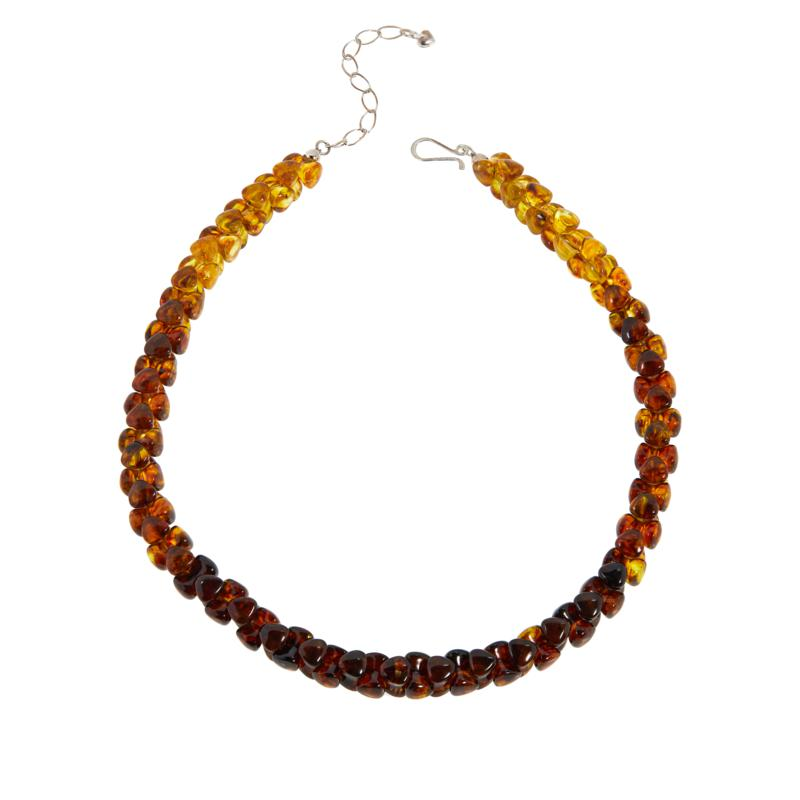 Jay King Sterling Silver Multi-Color Ombré Amber Bead Necklace