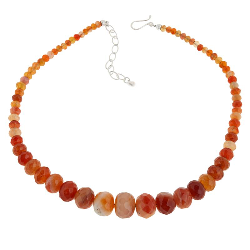 Jay King Sterling Silver Multi-Colored Red Chalcedony Bead Necklace