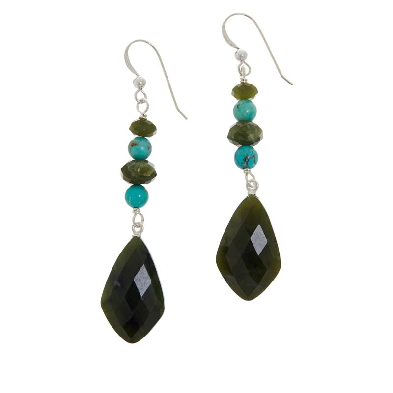 Jay King Sterling Silver Nephrite Jade and Turquoise Drop Earrings