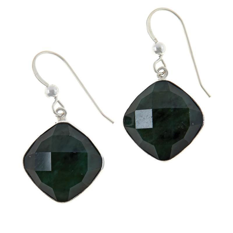 Jay King Sterling Silver Nephrite Jade Cushion-Cut Drop Earrings