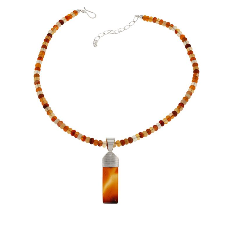 Jay King Sterling Silver Orange Carnelian Pendant with Beaded Necklace