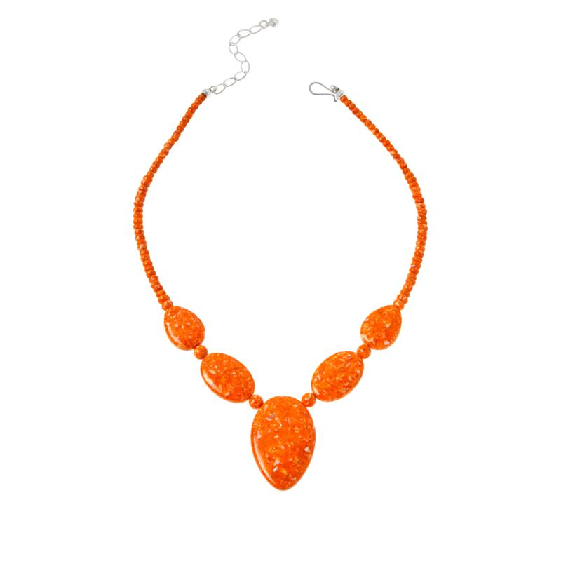 Jay King Sterling Silver Orange Spiny Oyster Shell Necklace