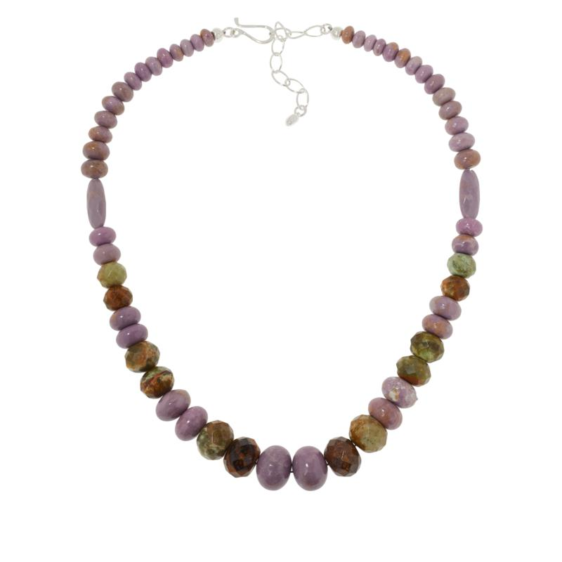 Jay King Sterling Silver Phosphosiderite and Chrome Opal Bead Necklace