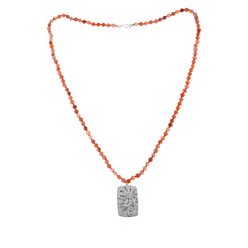 """Jay King Sterling Silver Picante Agate Bead """"Flower"""" Necklace"""