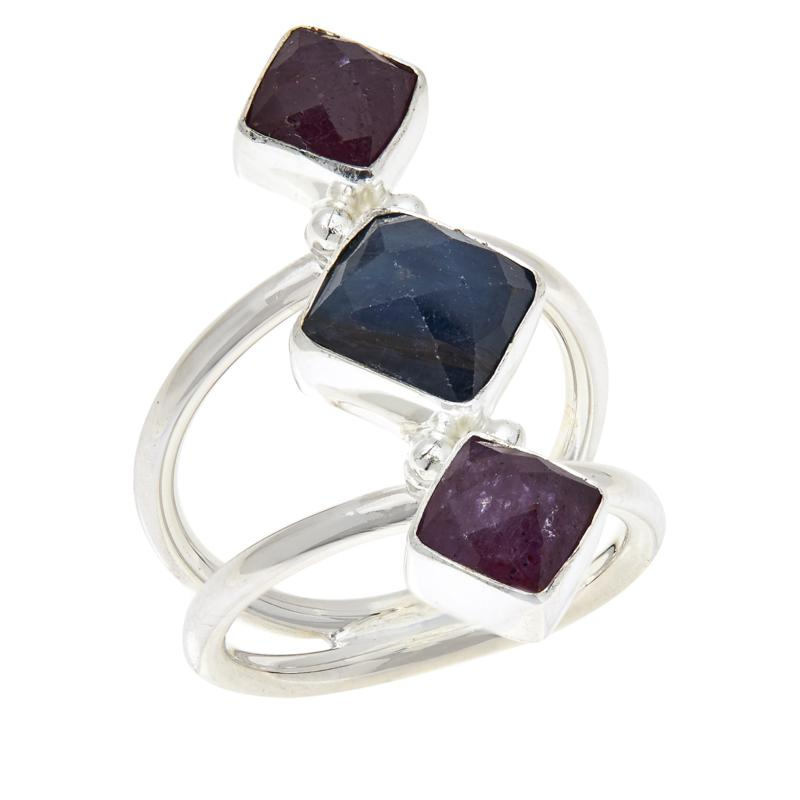 Jay King Sterling Silver Pink and Blue Sapphire Ring