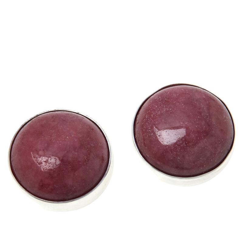Jay King Sterling Silver Pink Rhodonite Stud Earrings