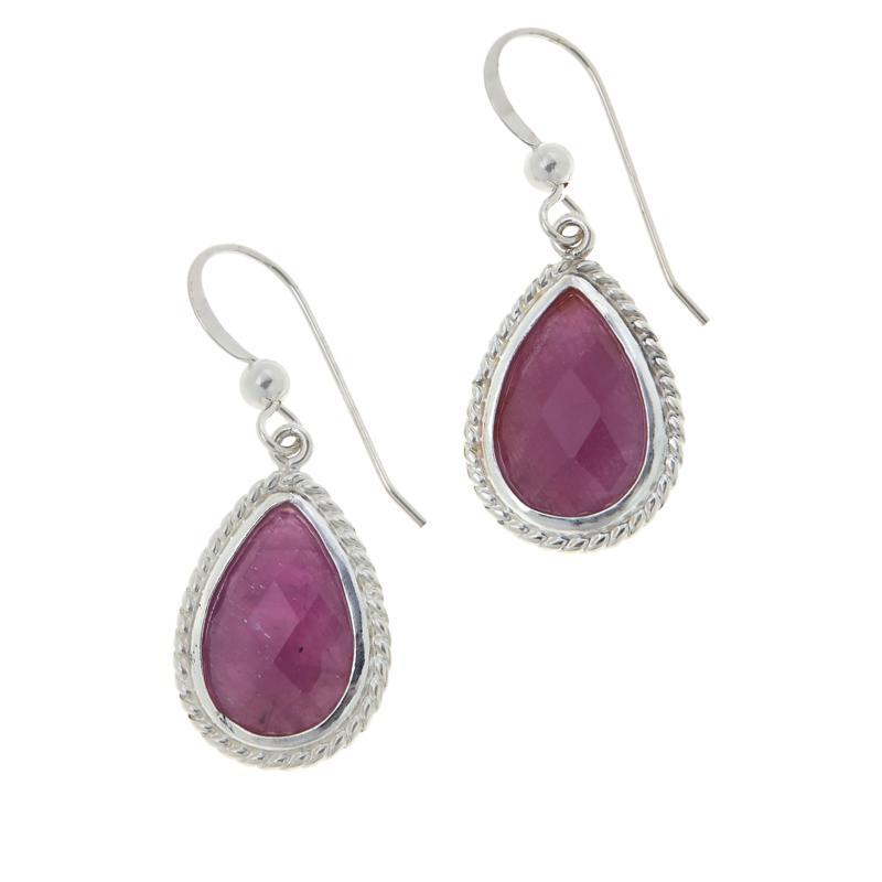 Jay King Sterling Silver Pink Sapphire Pear Drop Earrings