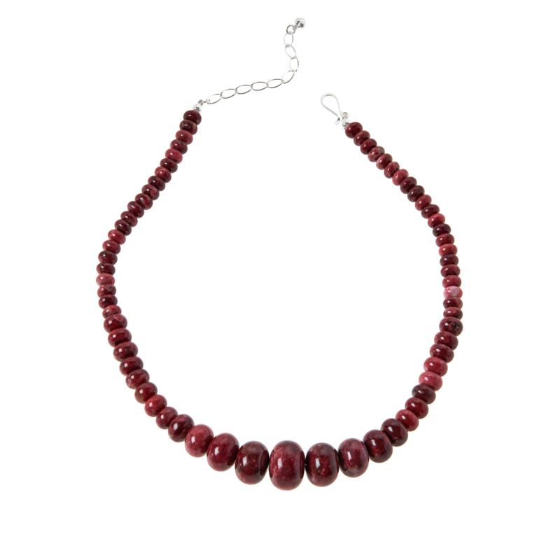 Jay King Sterling Silver Pink Thulite Graduated Bead Necklace
