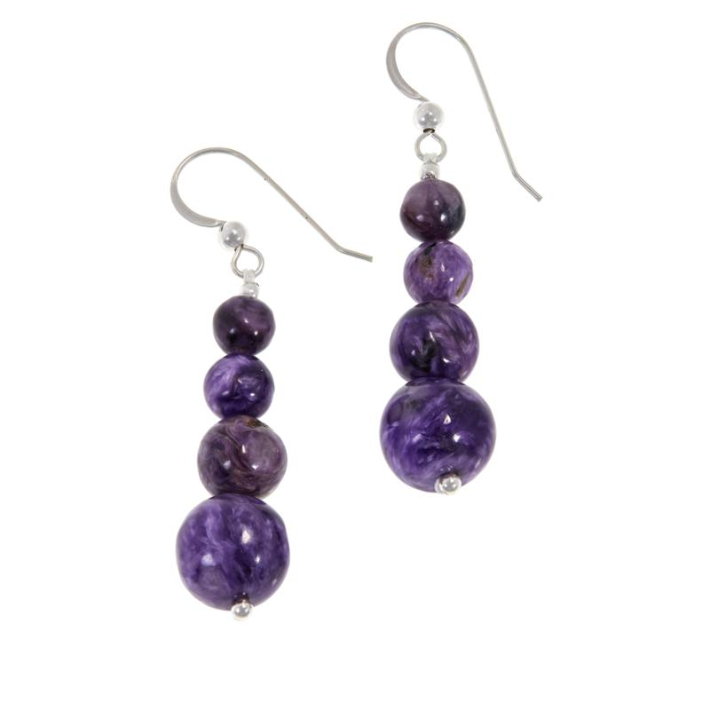 Jay King Sterling Silver Purple Charoite Bead Drop Earrings