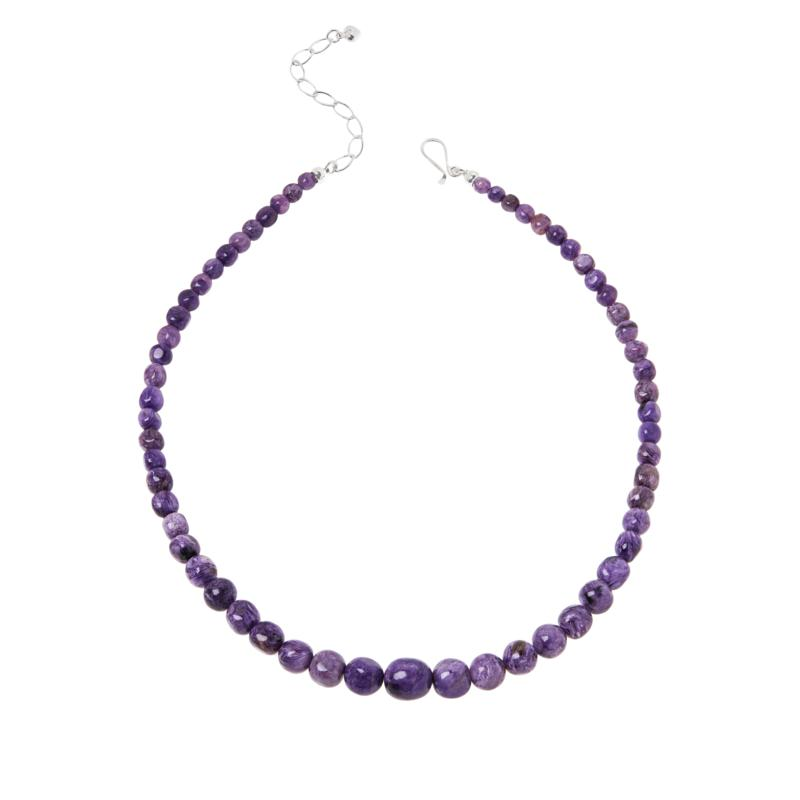 Jay King Sterling Silver Purple Charoite Graduated Bead Necklace