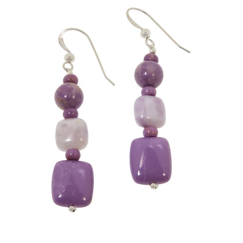 Jay King Sterling Silver Purple Multi-Gemstone Drop Earrings