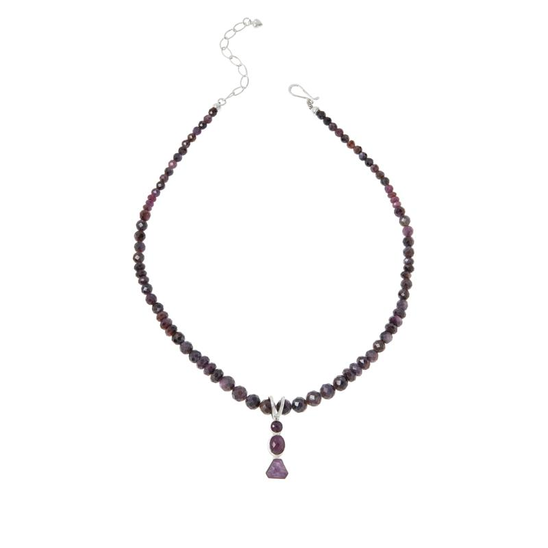 Jay King Sterling Silver Purple Sapphire Pendant with Beaded Necklace