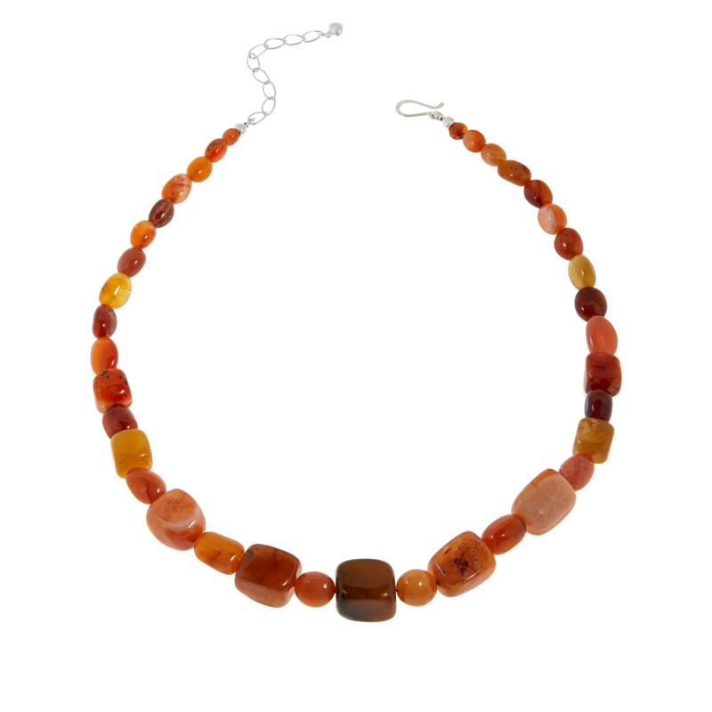 Jay King Sterling Silver Red Chalcedony Bead Necklace