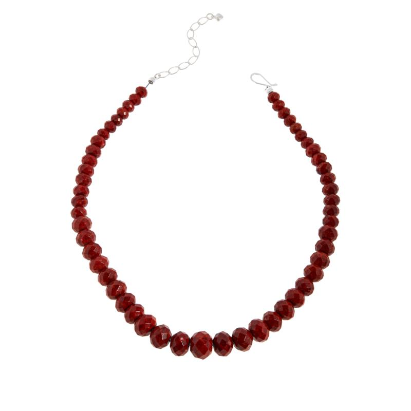 Jay King Sterling Silver Red Coral Bead Graduated Necklace