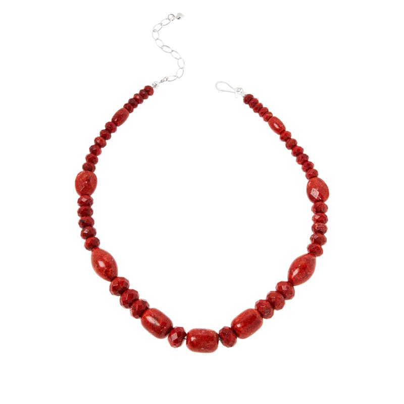 Jay King Sterling Silver Red Coral Bead Necklace