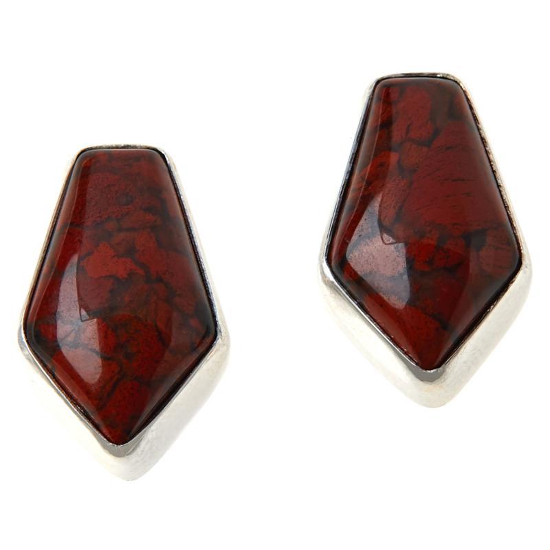 Jay King Sterling Silver Red Flower Stone Earrings