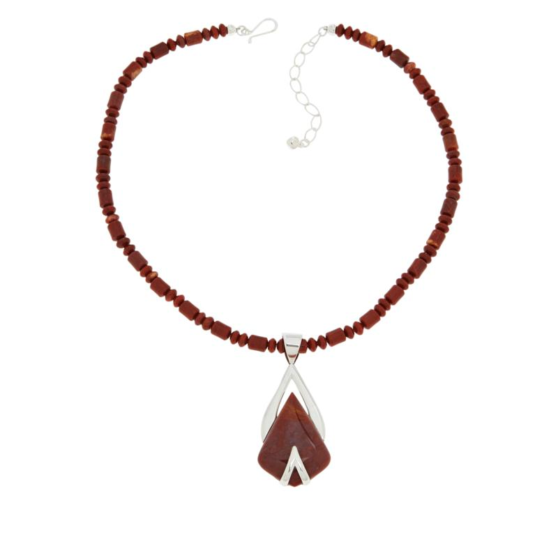 Jay King Sterling Silver Red Jasper Pendant with Necklace