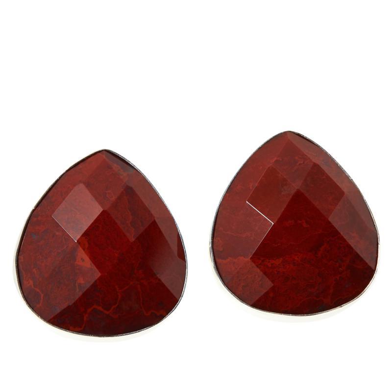 Jay King Sterling Silver Red Moss Jasper Pear-Shape Stud Earrings