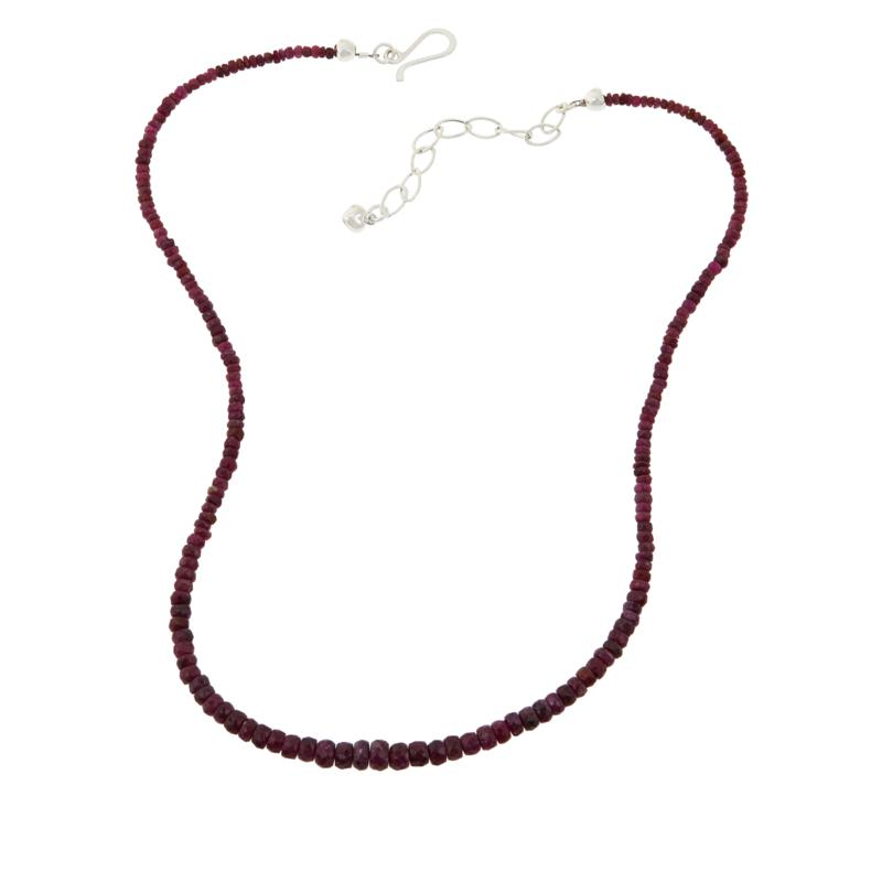 Jay King Sterling Silver Red Ruby Bead Necklace
