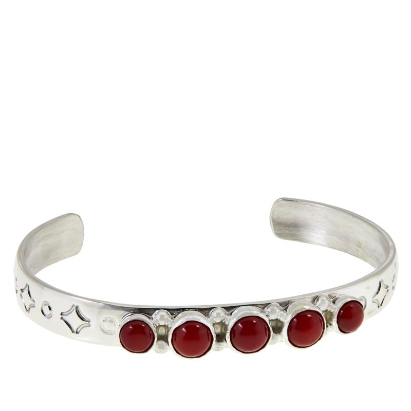 Jay King Sterling Silver Red Sea Bamboo Coral Child-Size Cuff Bracelet